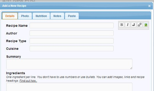 Окошко для добавления рецепта на сайт WordPress