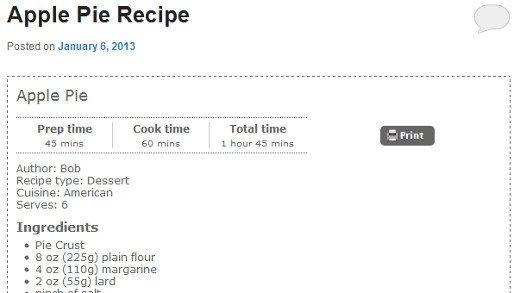 Стиль отображения рецепта