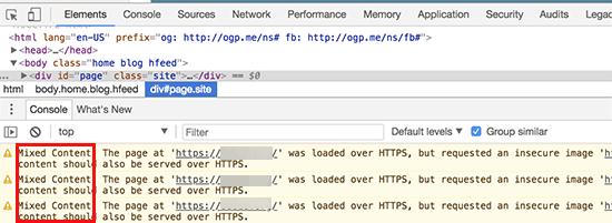 Ошибки смешанного содержимого отображаемые в консоли браузера
