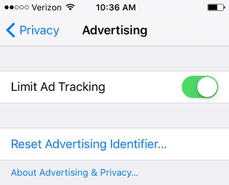 Лимит отслеживание рекламы на iphone