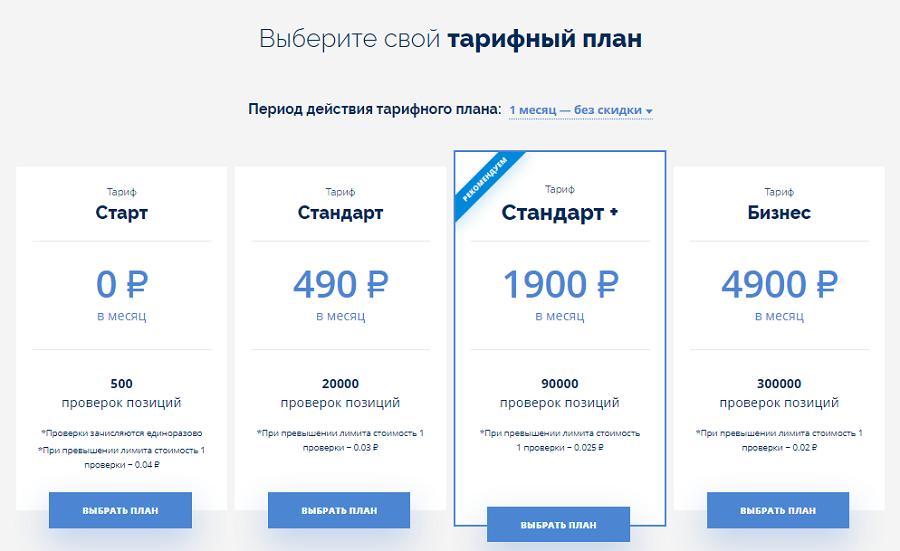 Цены на тарифы сервиса Серпхант