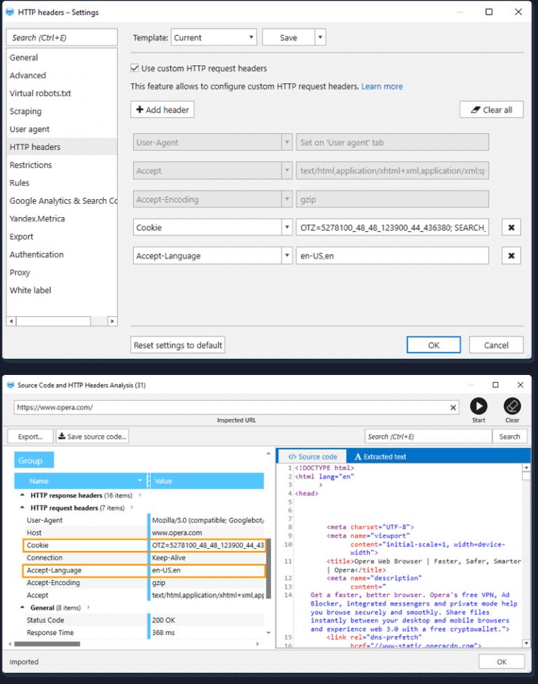 Исходный код и анализ заголовков HTTP