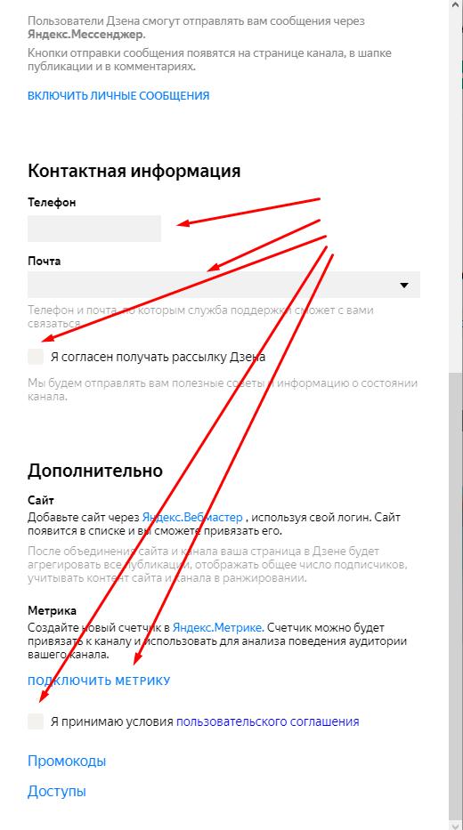 Настройки канала Яндекс.Дзен