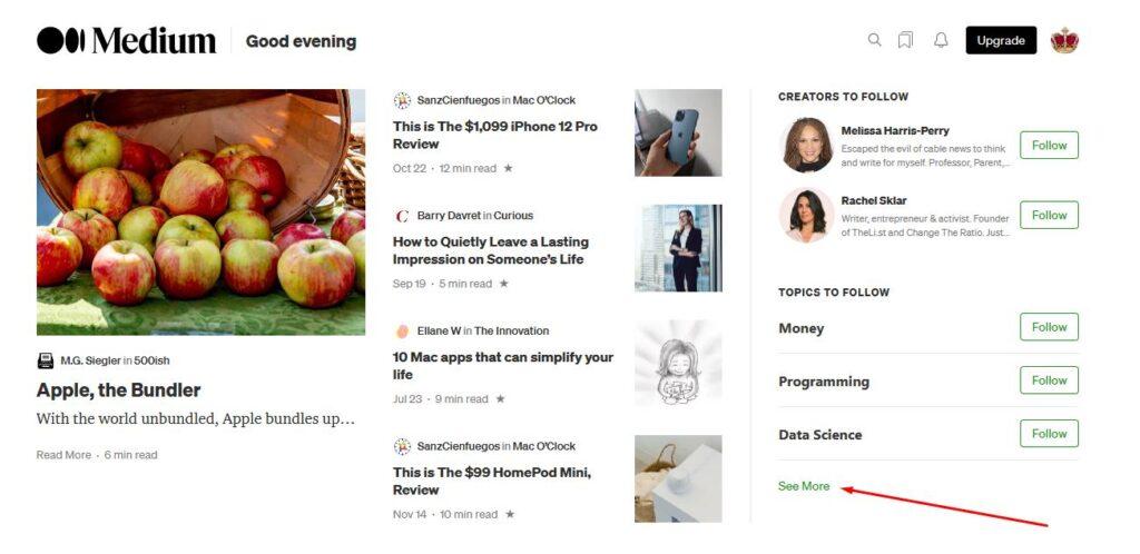 раздел со всеми темами на сайте Medium