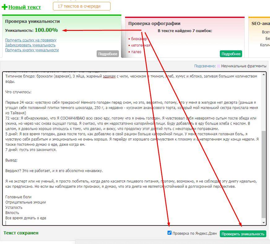 Ставим галочку для проверки по Яндекс.Дзен и отправляем на проверку