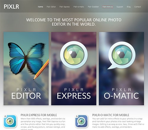 Онлайн редактор изображений Pixlr
