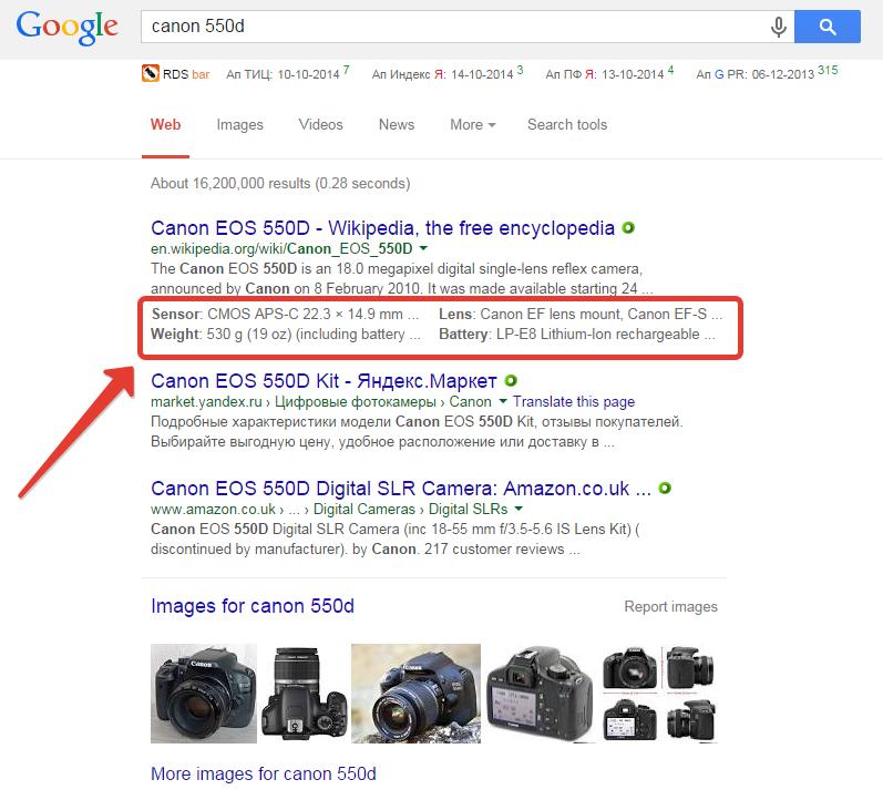 Структурированный сниппет Google