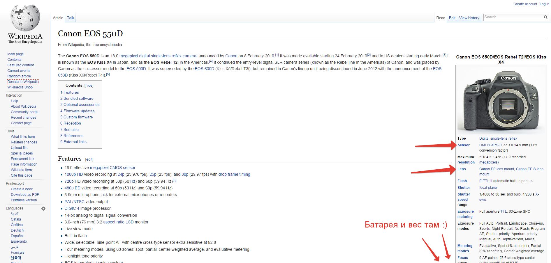 Пример данных в HTML таблице