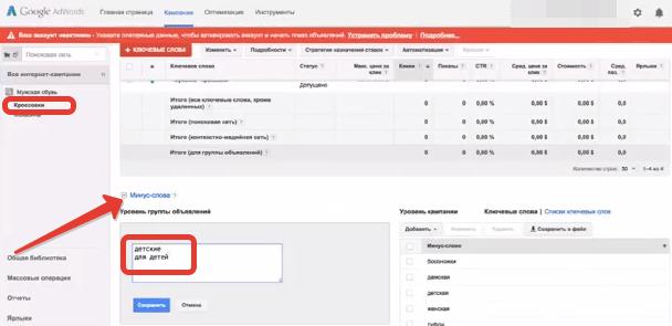 Добавление минус-слов к объявлениям Google AdWords