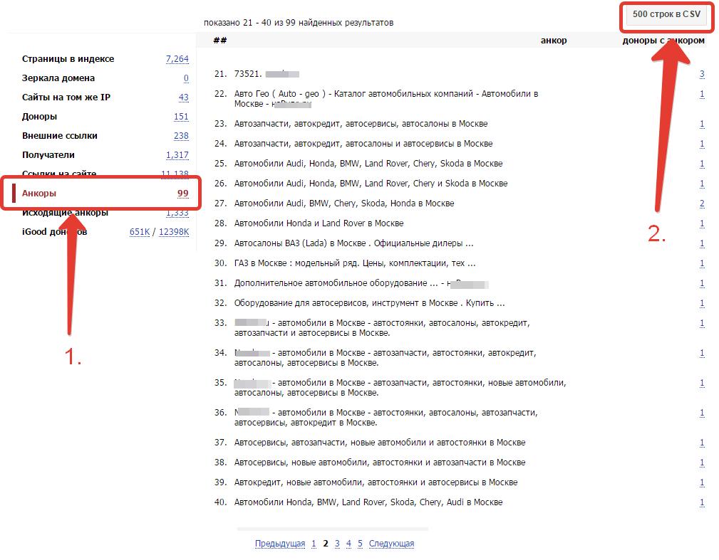 Загрузка анкоров в CSV из LinkPad