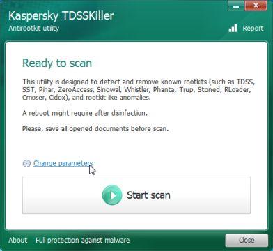 Изменение параметров утилиты TDSSKiller